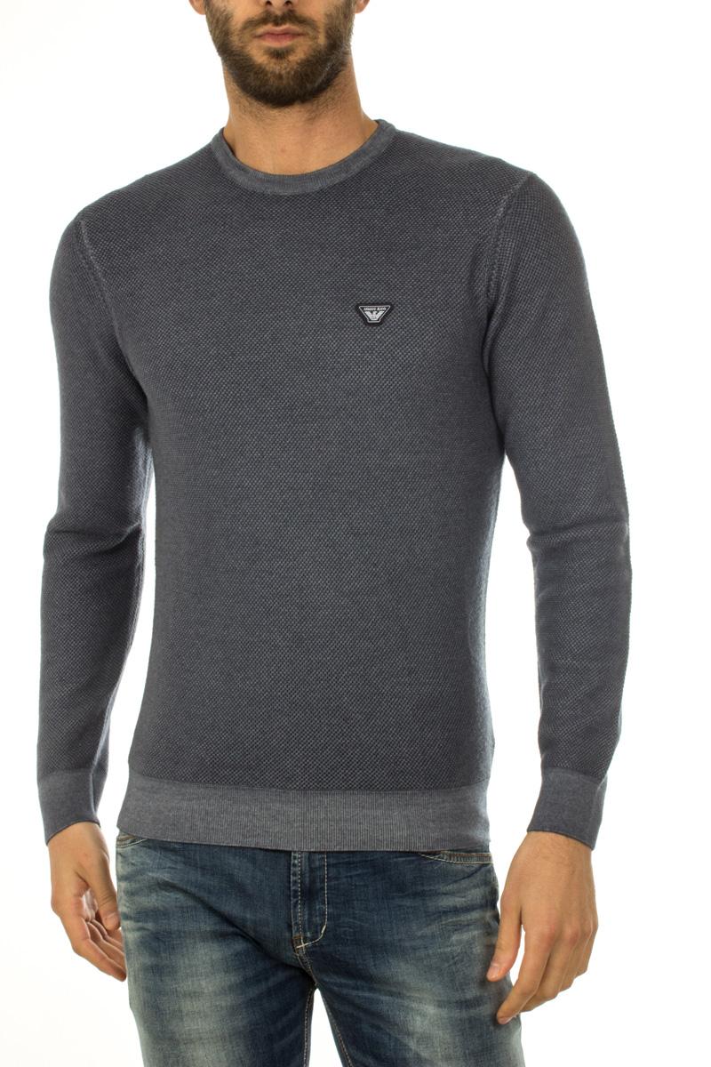 Maglia Maglione Armani Jeans AJ Sweater Pullover Lana Uomo Blu 6X6MF56M0LZ  535   eBay